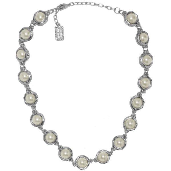 N50057.42 - Collier étain argenté au 925 sterling avec des perles de verre blanche