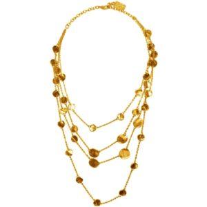 N50388.10 - Collier étain doré à l'or fin 24 carats avec des disques de taille différentes
