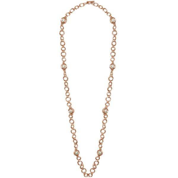 N50059.52 - Collier doré à l'or rose fin 24 carats avec des perles de verre blanches