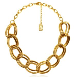 N56027.10 - Collier étain doré à l'or fin 24 carats à textures différentes - Porté par Shay Mitchell