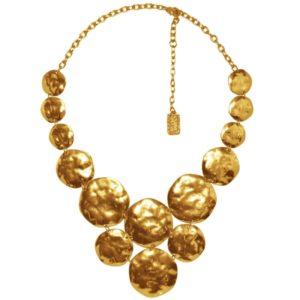 N56092.10 - Collier étain doré à l'or fin 24 carats avec plusieurs médailles