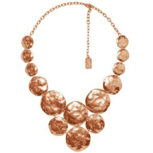 N56092.50 - Collier étain doré rose à l'or fin 24 carats avec plusieurs médailles