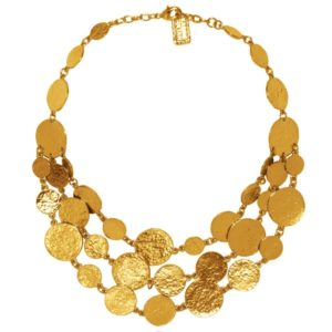 N50878.10 - Collier étain doré à l'or fin 24 carats avec trois rangées de médaillon