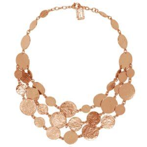 N50878.50 - Collier étain doré rose à l'or fin 24 carats avec trois rangées de médaillon