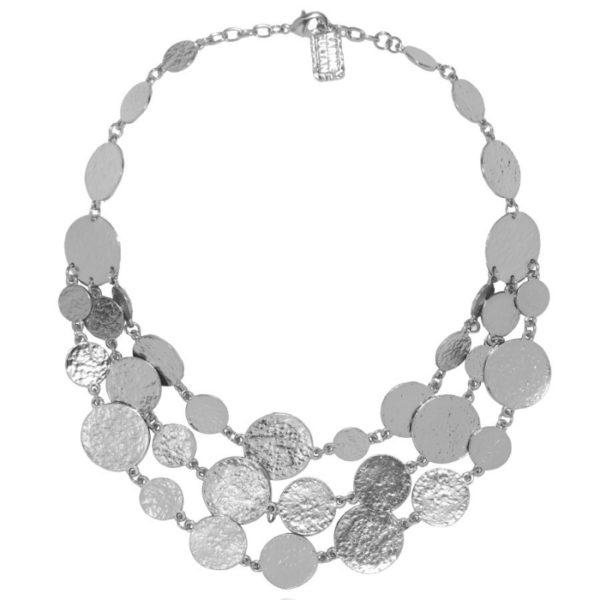 N50878.20 - Collier étain argenté au 925 sterling avec trois rangées de médaillon