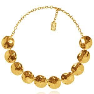 N50318.10 - Collier étain doré à l'or fin 24 carats avec des grands disques