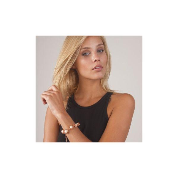 JEANNE - B12575.52 - Bracelet doré à l'or rose fin 24 carats avec des perles de verre blanche enfermé
