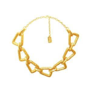 N58025.10 - Collier doré à l'or fin 24 carats de forme trapezoidale