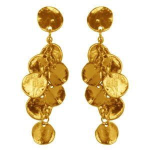 E50380.10 - Boucles d'oreilles étain doré à l'or fin 24 carats avec des petits médaillon