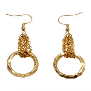 E51010.10 - Boucles d'oreilles étain doré à l'or fin 24 carats avec un pendantif en anneaux