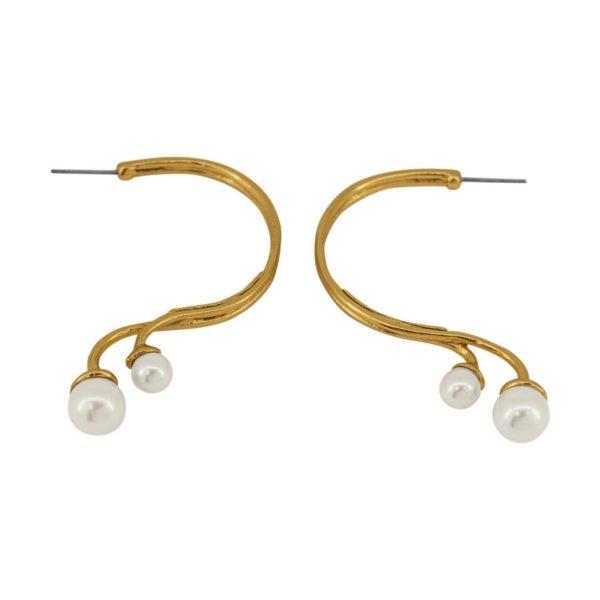 E61037.12 - Boucles d'oreilles étain doré à l'or fin 24 carats avec une forme arrondie