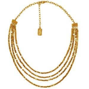 N58010.10 - Collier étain doré à l'or fin 24 carats avec plusieurs chaînes