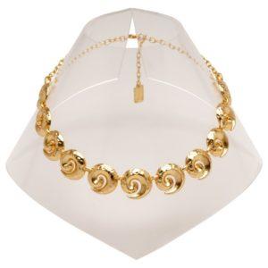 N60015.10 - Collier en étain doré à l'or fin 24 carats avec des tourbillons