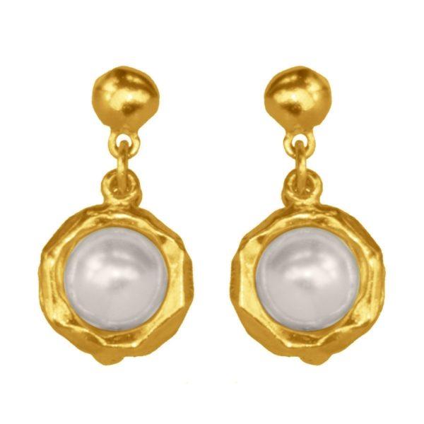 E50050.12 - Boucles d'oreilles étain doré 24 carats avec une perle de verre