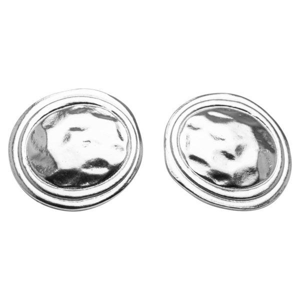 E57036.20 - Boucles d'oreilles étain argenté 925 Sterling de forme d'une pièce de monnaie
