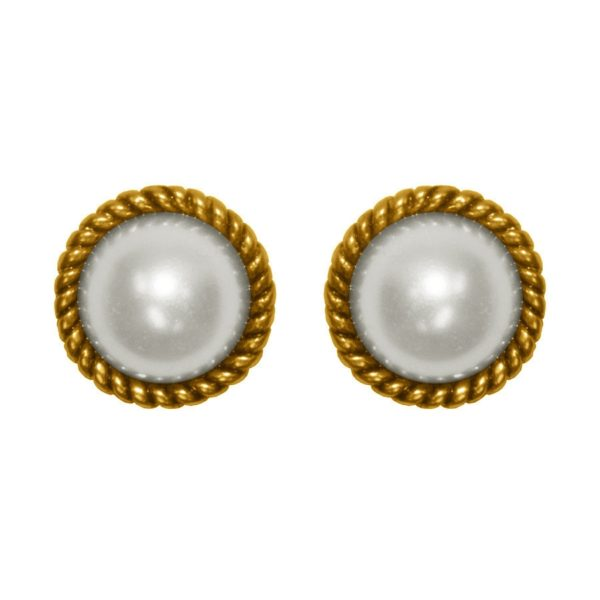 E62090.32 - Boucles d'oreilles étain doré 24 carats avec une Perle de verre entouré d'un effet corde