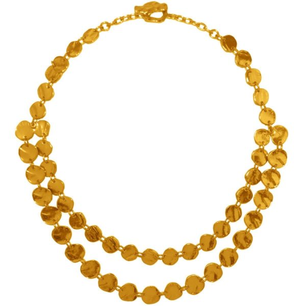 N56007.10 - Collier étain doré 24 carats avec une multitude de médaillon