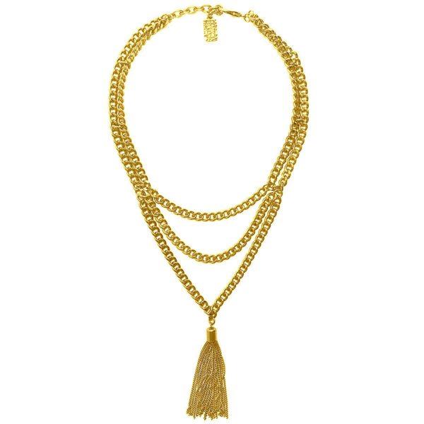 N62055.10 - Collier étain doré 24 carats avec deux couches de chaîne et de fine chaîne comme pendentif