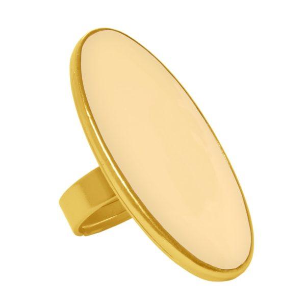 R54067.19 - Bague étain doré 24 carats avec de l'email beige