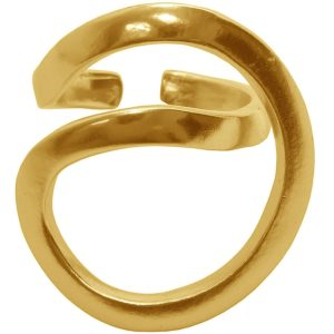 R61131.10 - Bague étain doré 24 carats avec une forme géométrique