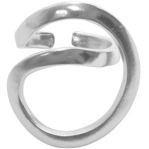 R61131.20 - Bague étain argenté 925 Sterling avec une forme géométrique