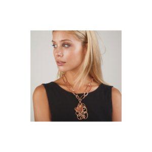 N54005.50 - Collier étain doré rose 24 carats avec un chevauchement de chaîne en pendentif