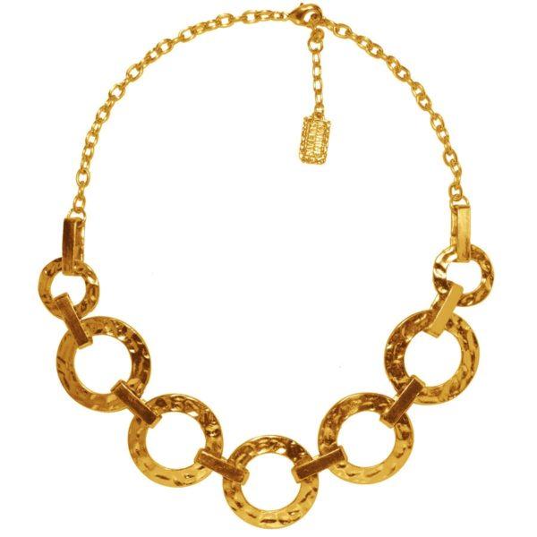 N50918.10 - Collier étain doré 24 carats avec des cercles reliés entre eux