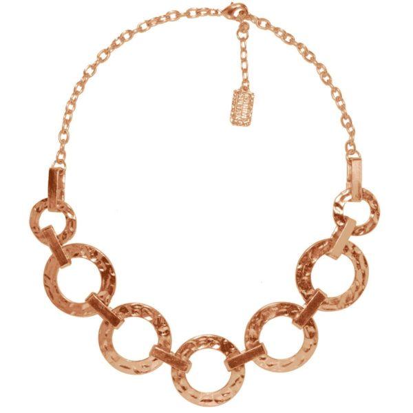 N50918.50 - Collier étain doré rose 24 carats avec des cercles reliés entre eux