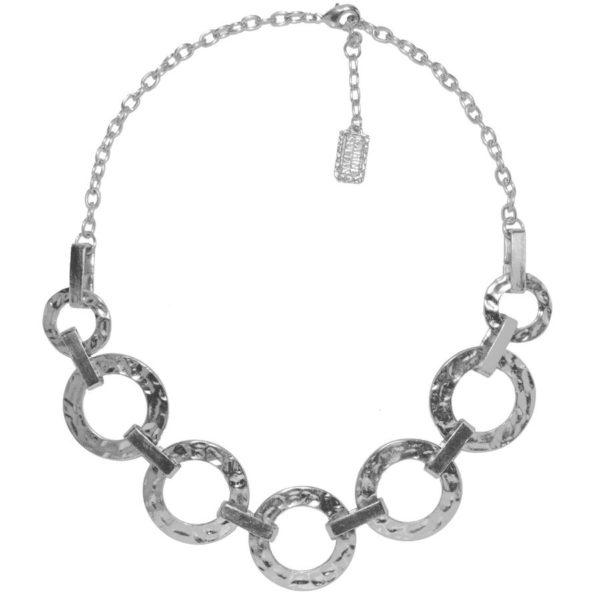 N50918.20 - Collier étain argenté 925 Sterling avec des cercles reliés entre eux