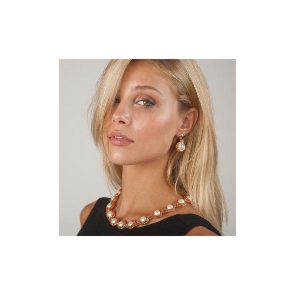 E50050.52 - Boucles d'oreilles étain doré rose 24 carats avec une perle de verre