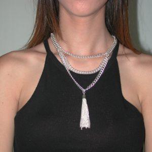 N62055.20 - Collier étain argenté 925 Sterling avec deux couches de chaîne et de fine chaîne comme pendentif