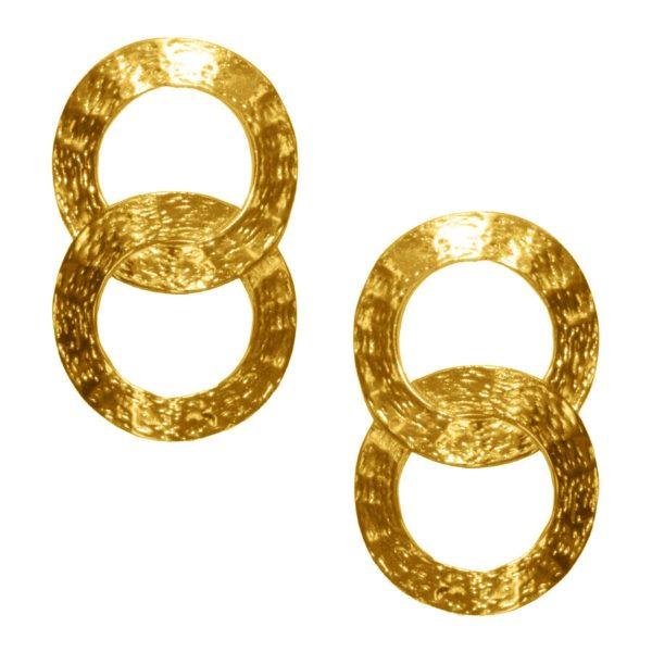 E62073.10 - Boucles d'oreilles étain doré 24 carats avec deux cercles entrelacés