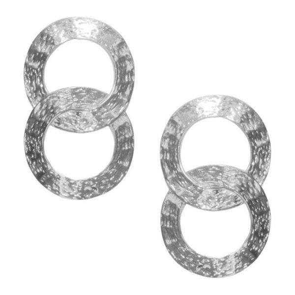 E62073.20 - Boucles d'oreilles étain argenté 925 Sterling avec deux cercles entrelacés