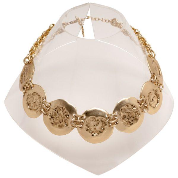 N50139.30 - Collier étain doré 24 carats avec de large pièces - Porté par Kate Beckninsale