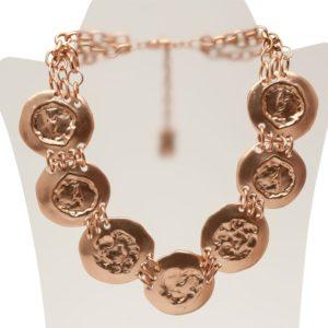 N50139.50 - Collier étain doré rose 24 carats avec de large pièces - Porté par Ashley Greene