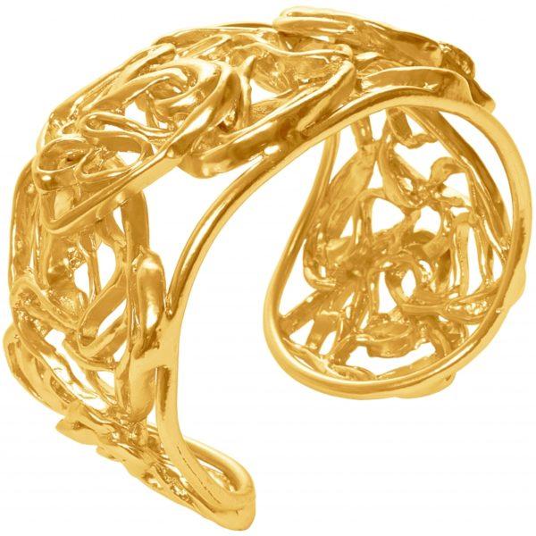 B63165.10 - Bracelet étain doré à l'or fin 24 Carats avec un chevauchement de rubans