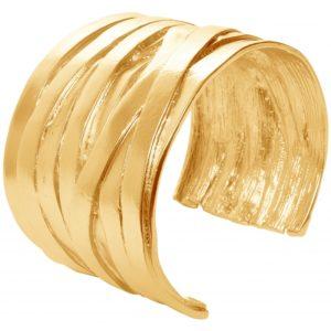 B63168.10 - Bracelet étain doré à l'or fin 24 carats avec un croisé de multi-ligne
