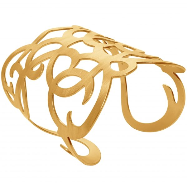 B63055.10 - Bracelet étain doré à l'or fin 24 carats avec une texture légèrement brossé