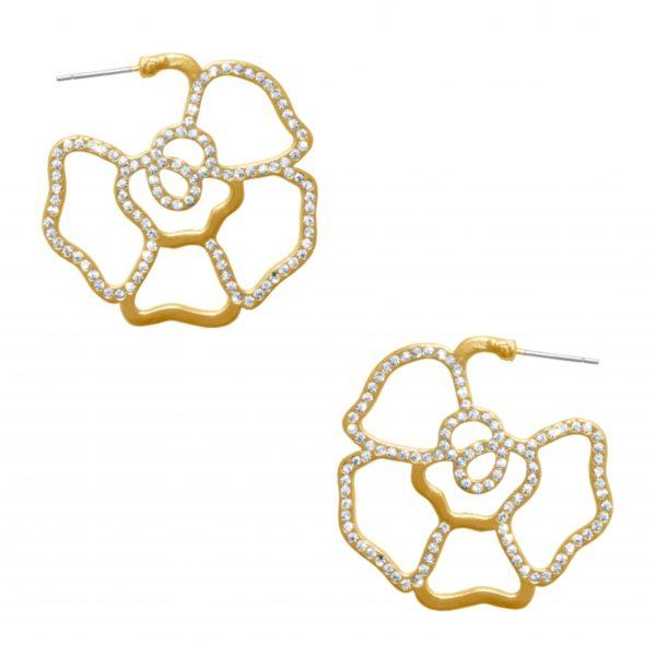 E63041.11 - Boucle d'oreilles étain doré à l'or fin 24 carats en forme de fleurs