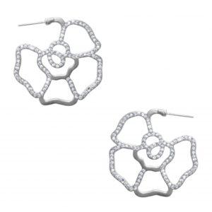 E63041.21 - Boucle d'oreilles étain argenté au 925 Sterling en forme de fleurs