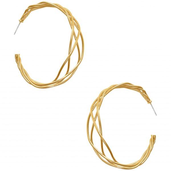E63086.10 - Boucle d'oreilles étain doré à l'or fin 24 carats avec des lignes torsadé