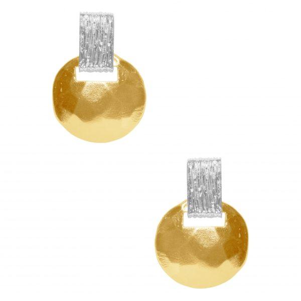 E63079.10 - Boucle d'oreilles étain doré à l'or fin 24 carats avec un pendentif disque