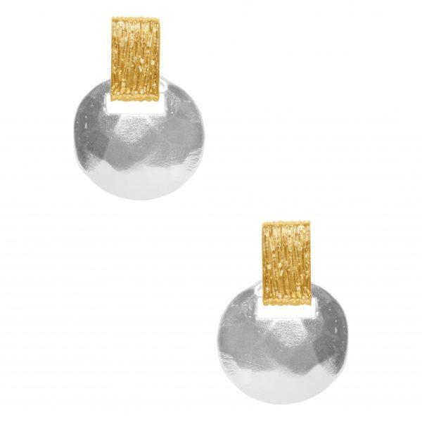 E63079.20 - Boucle d'oreilles étain argenté au 925 Sterling avec un pendentif disque