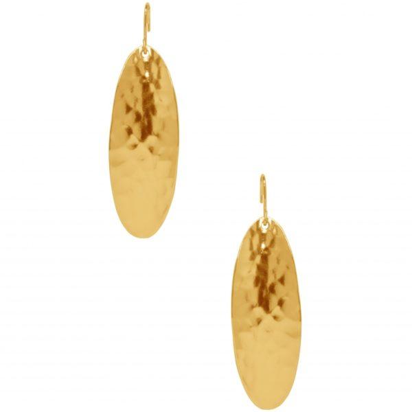 E63038.10 - Boucle d'oreilles étain doré à l'or fin 24 carats à pendentif ovales