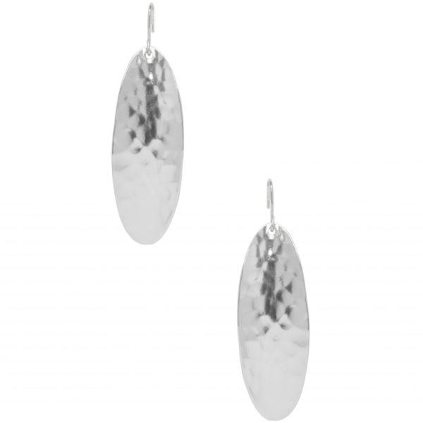 E63038.20 - Boucle d'oreilles étain argenté au 925 Sterling à pendentif ovales