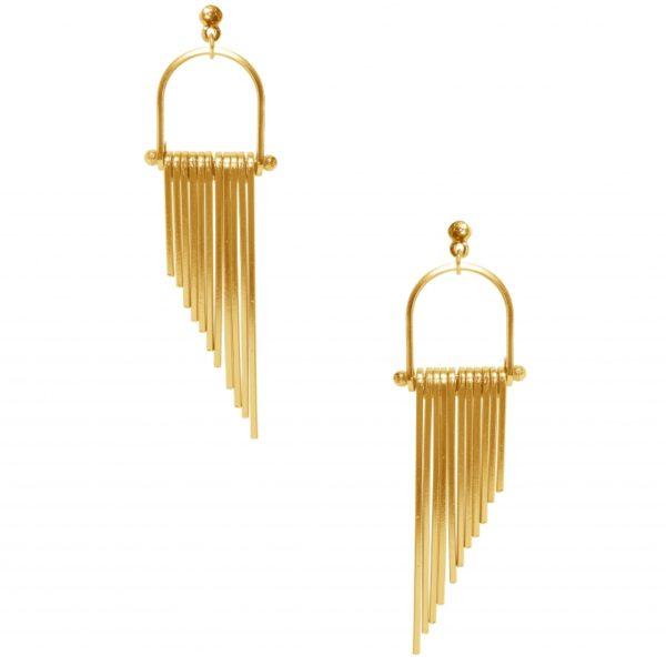 E63067.10 - Boucle d'oreilles étain doré à l'or fin 24 carats avec un effet chute d'eau