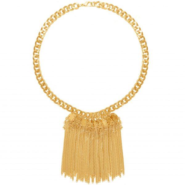 N63019.10 - Collier étain doré à l'or fin 24 carats avec une cascade de fines chaînes