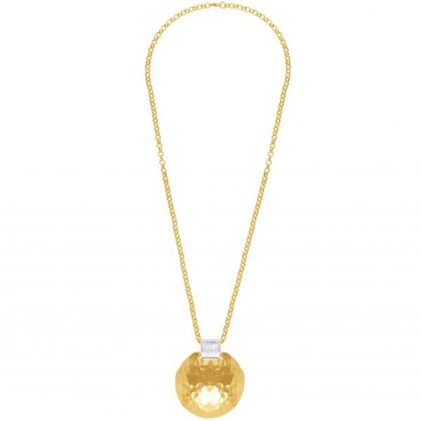 N63076.10 - Collier étain doré à l'or 24 Carats avec un grand pendentif martelé