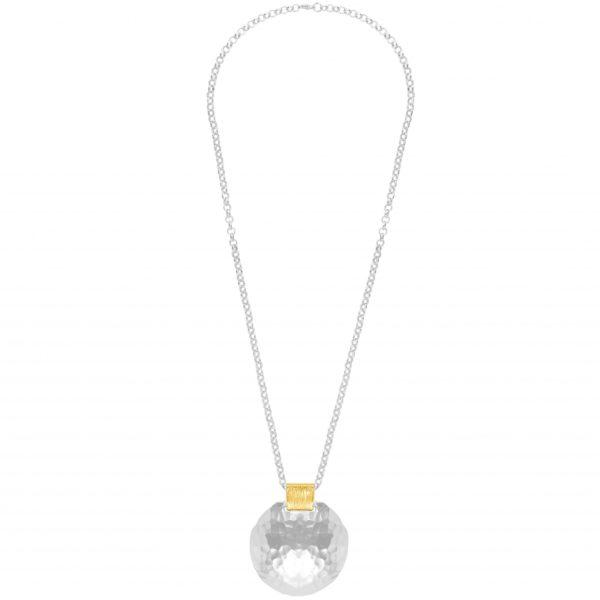 N63076.20 - Collier étain argenté au 925 Sterling avec un grand pendentif martelé