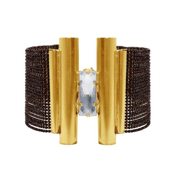 B63050.33 - Bracelets étain doré à l'or 24 Carats avec un grand cristal clair